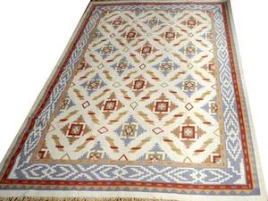 INDIAN DHURRIE HAND WOVEN WOOL RUG