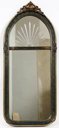 ART DECO DECORATED WOOD MIRROR C 1925
