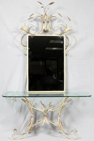 WROUGHT IRON AND GLASS CONSOLE AND MIRROR