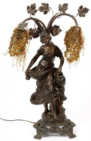 ART NOUVEAU SPELTER FIGURAL TABLE LAMP