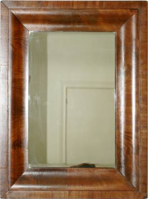 071324 AMERICAN EMPIRE MAHOGANY OGEE MIRROR OVER PINE