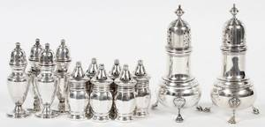 STERLING SALT  PEPPER SHAKERS 6 PAIRS