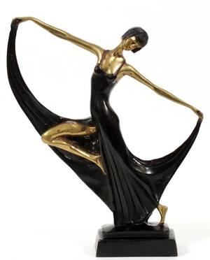 ART DECO STYLE METAL SCULPTURE OF A DANCER