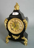 Ansonia 8day ebonized shelf clock with brass mounts and an open escapement