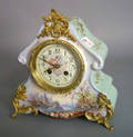 French porcelain mantle clock with ormolu mounts