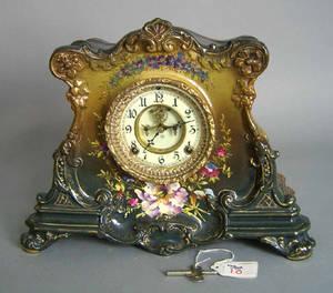 Ansonia porcelain mantle clock with Royal Bonn case with open escapement