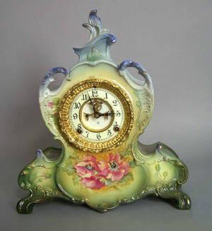 Ansonia porcelain mantle clock with Royal Bonn La Vendee case and open escapement