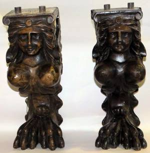 HAND CARVED OAK ARCHITECTURAL DETAILS PAIR