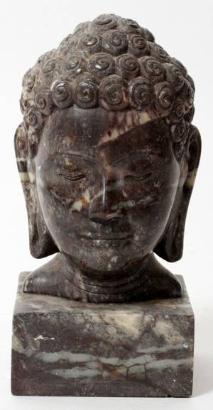 CARVED MARBLE BUST OF BUDDHA
