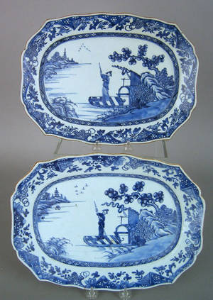 Pair of Chinese export blue and white platters 19th c