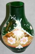090391 GREEN ART GLASS VASE WENAMEL  GOLD ACCENTS