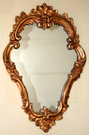080402 FRENCH STYLE GILT WOOD WALL MIRROR H 24