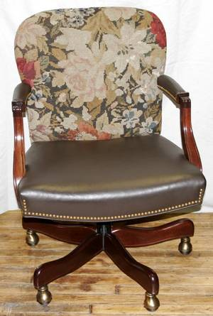 071382 MAHOGANY LEATHER  TAPESTRY DESK CHAIR
