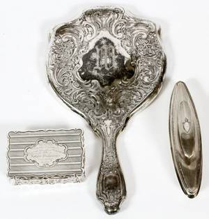STERLING SILVER HAND MIRROR AND ACCESSORIES 3 PCS