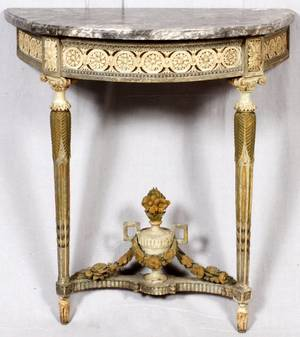 FRENCH MARBLE TOP CONSOLE TABLE 19TH C