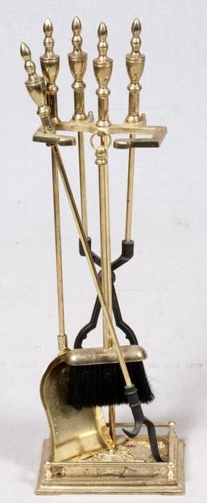 SET OF BRASS FIREPLACE TOOLS