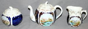 090413 GERMAN PORCELAIN TEAPOT CREAMER  SUGAR C1900