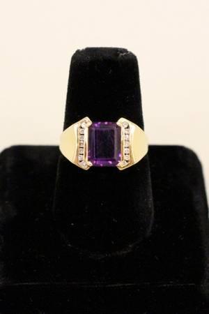 A 14k Gold Amethyst  Diamond Ring
