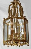071396 BRASS  HEXAGONAL GLASS PANEL CHANDELIER