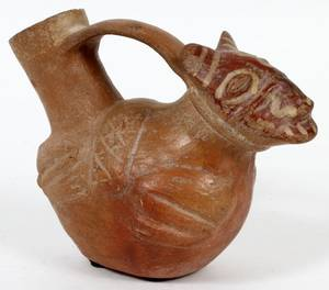 PRECOLUMBIAN TERRACOTTA ANIMAL VESSEL