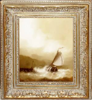 072391 LEWIS VORHAY OIL ON WOOD PANEL SHIP IN STORM