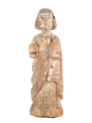 18th C Spanish Colonial Carved Wood Santo Figure
