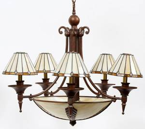 ART DECO STYLE METAL  SLAG GLASS CHANDELIER