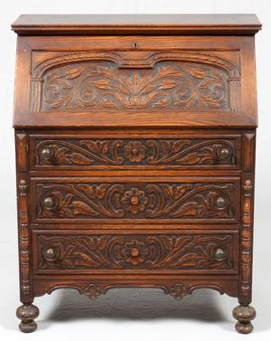 CENTENNIAL HAND CARVED WALNUT DROP FRONT DESK