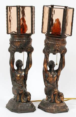 ART DECO STYLE GILT SPELTER FIGURAL TABLE LAMPS