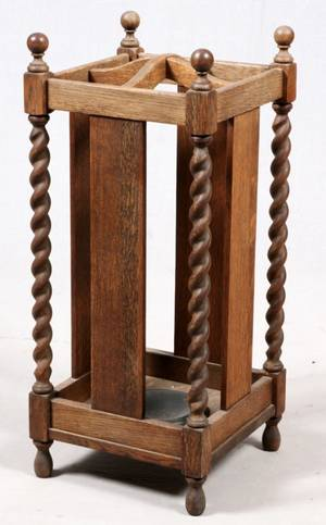 AMERICAN OAK UMBRELLA STAND C 1900 SQUARE
