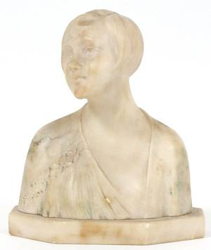 ITALIAN MARBLE SCULPTURE BUST OF YOUNG WOMAN