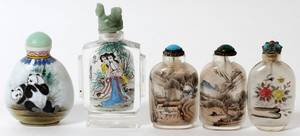 CHINESE PAINTED GLASS SNUFF BOTTLES FIVE