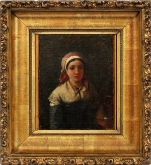 OIL PAINTING ON CANVAS YOUNG GIRL W SCARF 19TH C