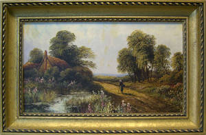 Pair of late 19th c oil on canvas country landscapes