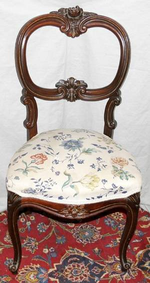 071513 VICTORIAN CARVED WALNUT SIDE CHAIR