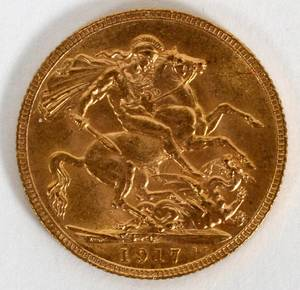 KING GEORGE V 1917 BRITISH GOLD SOVEREIGN COIN