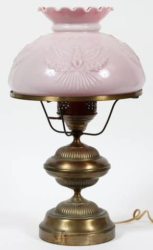 ELECTRIFIED OIL LAMP BRASS W PINK TO WHITE GLASS