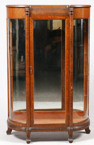 AMERICAN CARVED OAK CURIO CABINET 19TH C