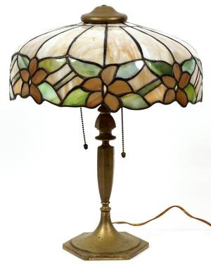 AMERICAN SLAG GLASS  PATINATED METAL LAMP C 1920