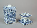 Dutch delft blue and white silver form salt and armorial flask 18th c