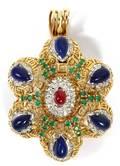 GOLD DIAMOND RUBY EMERALD  LAPIS PENDANTBROOCH