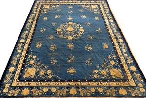 ANTIQUE CHINESE HAND WOVEN WOOL RUG