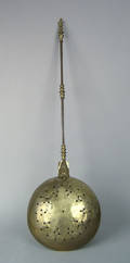 Brass and iron warming pan 18th c
