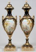 SEVRES STYLE PORCELAIN FLOOR URNS PAIR