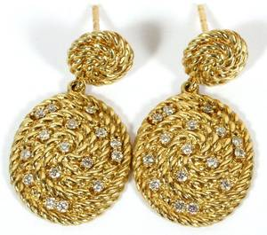 DAVID YURMAN 18KT YELLOW GOLD  DIAMONDS EARRINGS