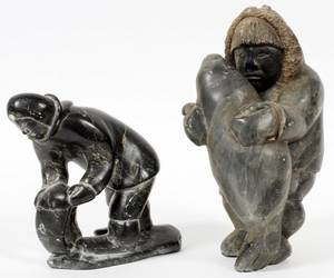 INUIT CARVED SOAPSTONE FIGURES TWO