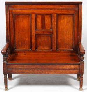 19TH CENTURY WALNUT HALL BENCH C1880