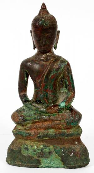 SOUTHEAST ASIAN BRONZE SEATED BUDDHA