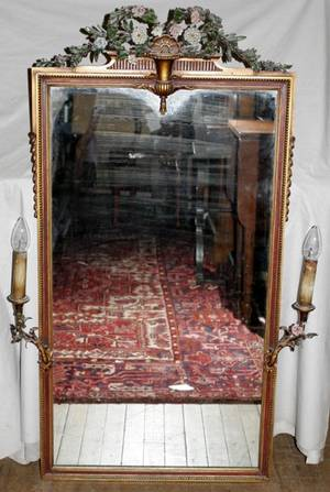 090047 FRENCH GILT WOOD  PORCELAIN WALL MIRROR