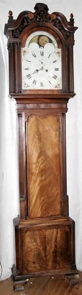 090004 JOHN WOOD ENGLISH MAHOGANY TALL CASE CLOCK